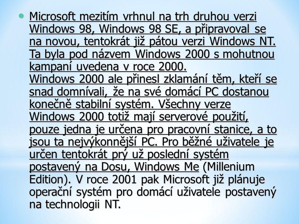 Microsoft mezitím vrhnul na trh druhou verzi Windows 98, Windows 98 SE, a připravoval se na novou, tentokrát již pátou verzi Windows NT. Ta byla pod n