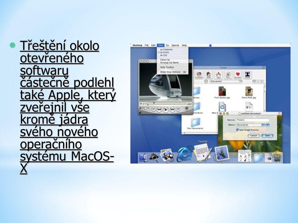 Třeštění okolo otevřeného softwaru částečně podlehl také Apple, který zveřejnil vše kromě jádra svého nového operačního systému MacOS- X Třeštění okol