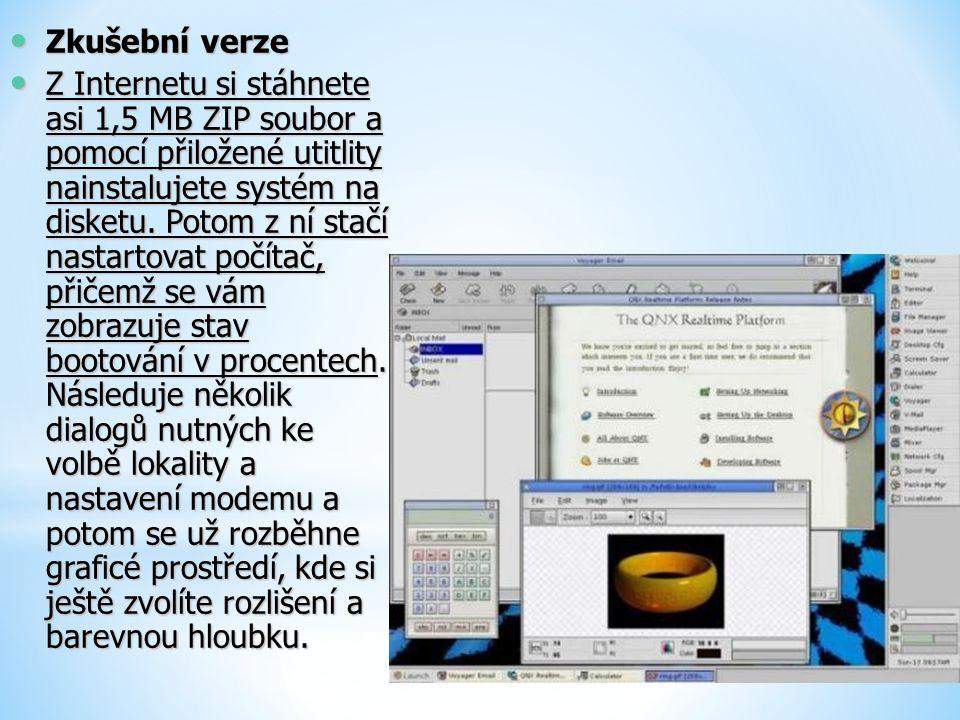 Zkušební verze Zkušební verze Z Internetu si stáhnete asi 1,5 MB ZIP soubor a pomocí přiložené utitlity nainstalujete systém na disketu. Potom z ní st