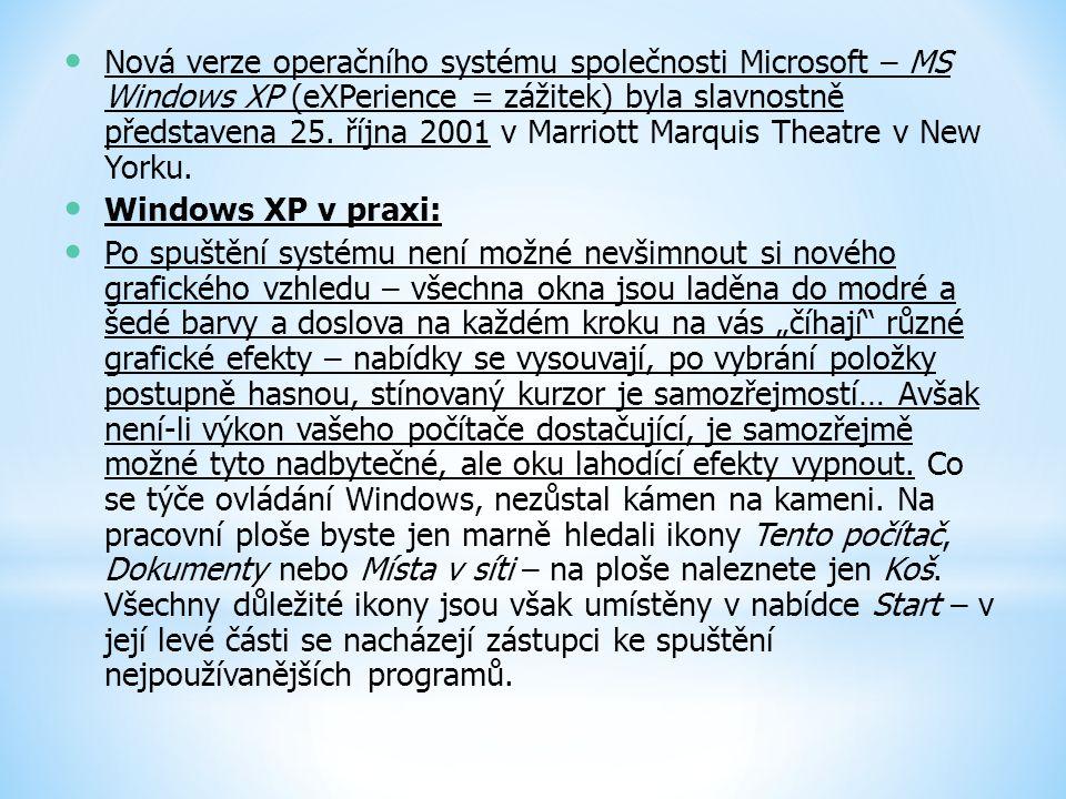Nová verze operačního systému společnosti Microsoft – MS Windows XP (eXPerience = zážitek) byla slavnostně představena 25. října 2001 v Marriott Marqu