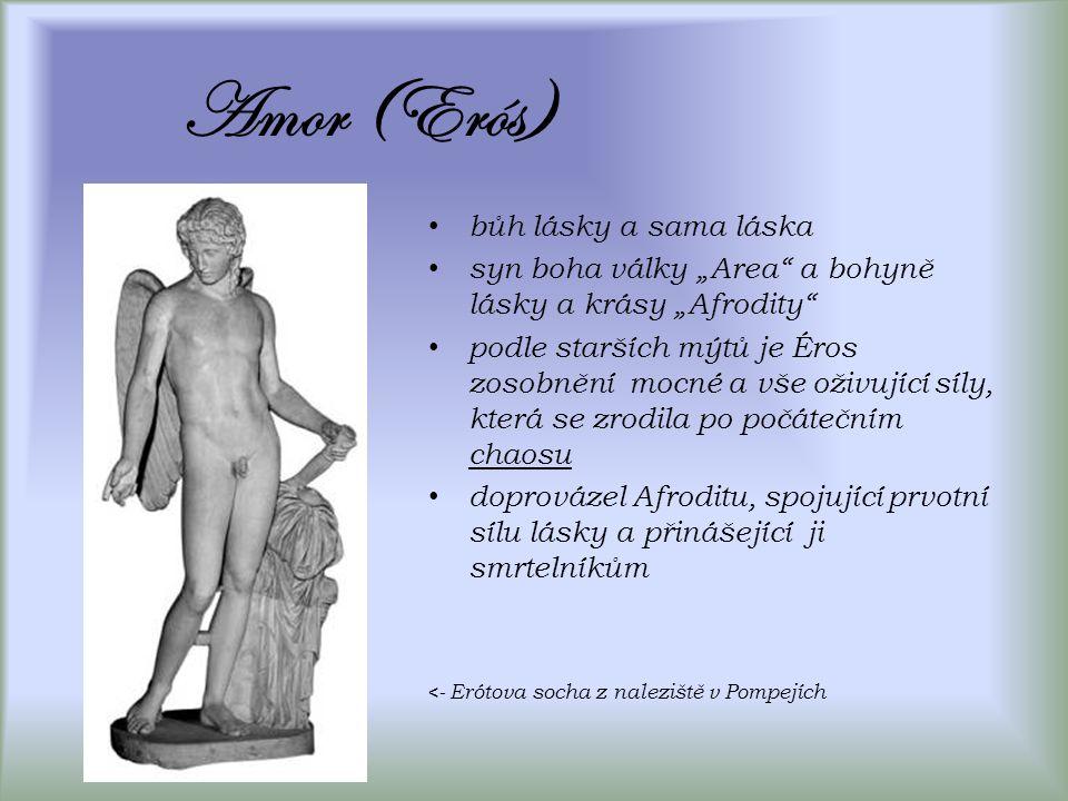 """Amor (Erós) bůh lásky a sama láska syn boha války """"Area a bohyně lásky a krásy """"Afrodity podle starších mýtů je Éros zosobnění mocné a vše oživující síly, která se zrodila po počátečním chaosu doprovázel Afroditu, spojující prvotní sílu lásky a přinášející ji smrtelníkům <- Erótova socha z naleziště v Pompejích"""