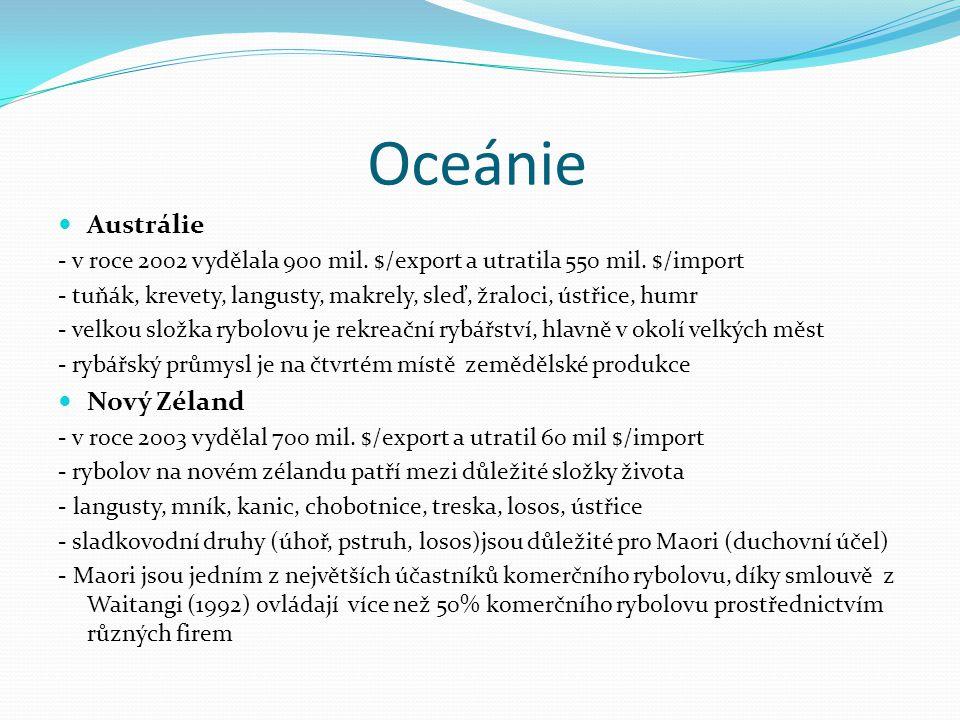 Oceánie Austrálie - v roce 2002 vydělala 900 mil. $/export a utratila 550 mil. $/import - tuňák, krevety, langusty, makrely, sleď, žraloci, ústřice, h