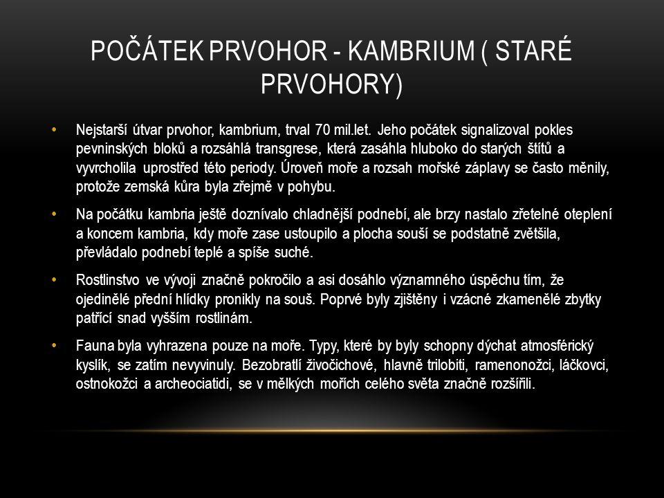 POČÁTEK PRVOHOR - KAMBRIUM ( STARÉ PRVOHORY) Nejstarší útvar prvohor, kambrium, trval 70 mil.let. Jeho počátek signalizoval pokles pevninských bloků a
