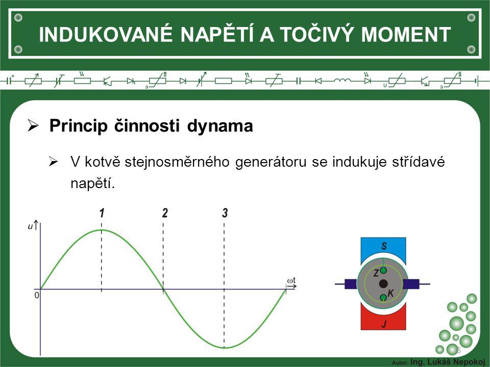 INDUKOVANÉ NAPĚTÍ A TOČIVÝ MOMENT 6  Princip činnosti dynama  V kotvě stejnosměrného generátoru se indukuje střídavé napětí.