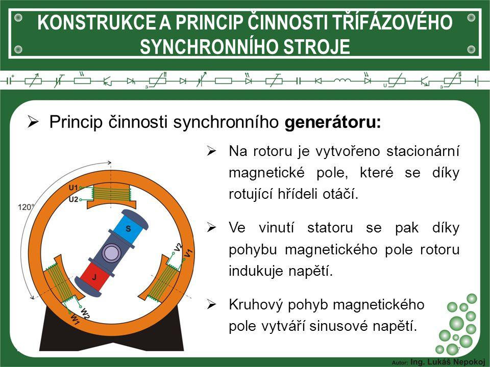 KONSTRUKCE A PRINCIP ČINNOSTI TŘÍFÁZOVÉHO SYNCHRONNÍHO STROJE  Princip činnosti synchronního generátoru: 7  Na rotoru je vytvořeno stacionární magne