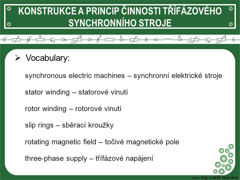  Vocabulary: synchronous electric machines – synchronní elektrické stroje stator winding – statorové vinutí rotor winding – rotorové vinutí slip ring
