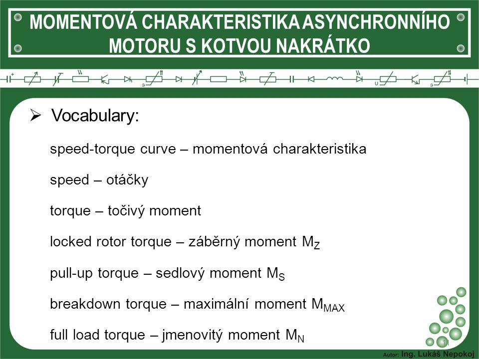  Vocabulary: speed-torque curve – momentová charakteristika speed – otáčky torque – točivý moment locked rotor torque – záběrný moment M Z pull-up to