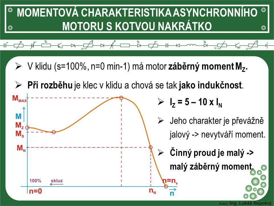 MOMENTOVÁ CHARAKTERISTIKA ASYNCHRONNÍHO MOTORU S KOTVOU NAKRÁTKO 4  V klidu (s=100%, n=0 min-1) má motor záběrný moment M Z.  Při rozběhu je klec v