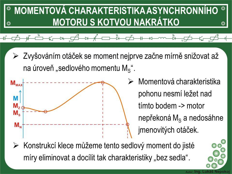 """MOMENTOVÁ CHARAKTERISTIKA ASYNCHRONNÍHO MOTORU S KOTVOU NAKRÁTKO 5  Zvyšováním otáček se moment nejprve začne mírně snižovat až na úroveň """"sedlového"""