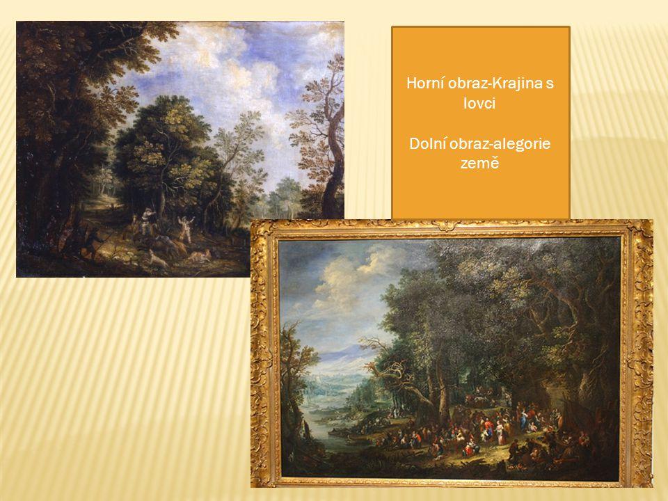 Horní obraz-Krajina s lovci Dolní obraz-alegorie země