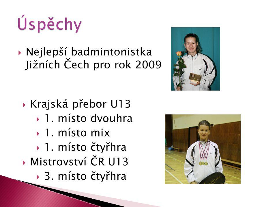  Nejlepší badmintonistka Jižních Čech pro rok 2009  Krajská přebor U13  1.