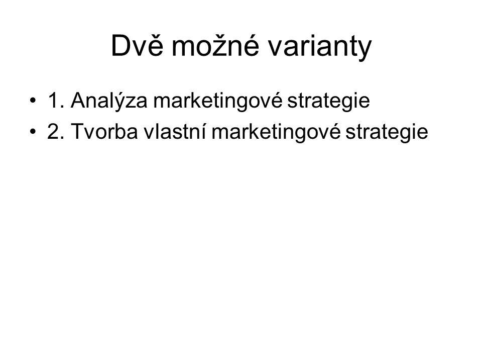 Dvě možné varianty 1. Analýza marketingové strategie 2. Tvorba vlastní marketingové strategie