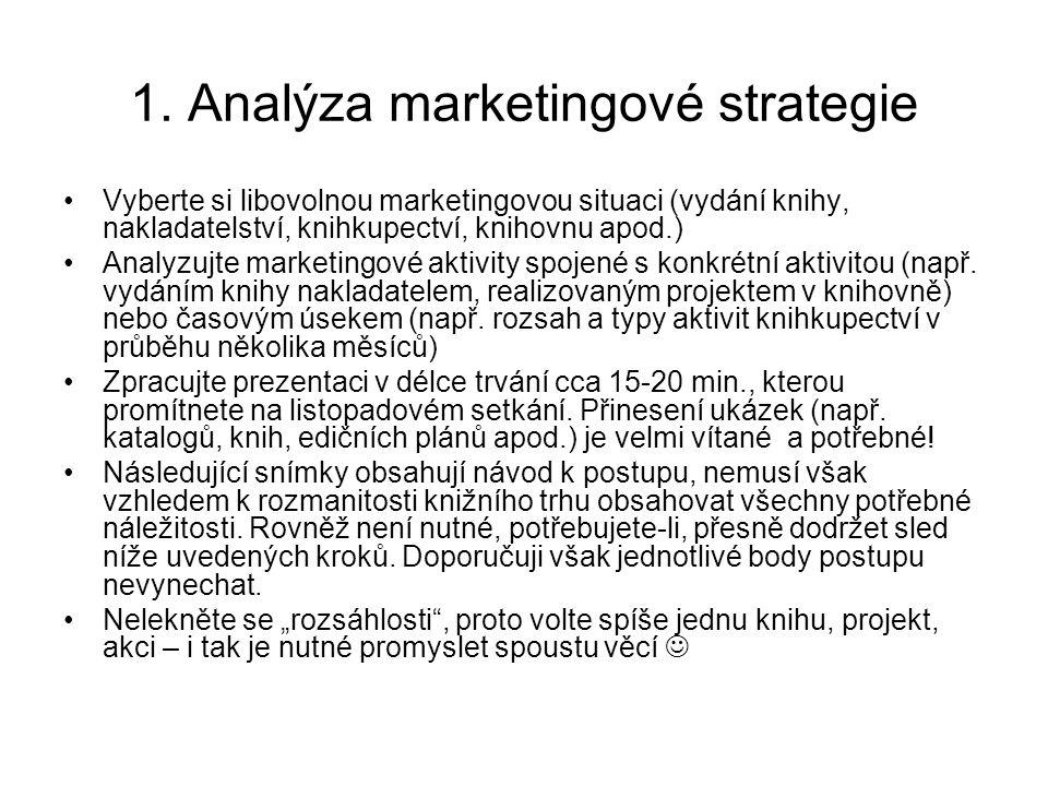 1. Analýza marketingové strategie Vyberte si libovolnou marketingovou situaci (vydání knihy, nakladatelství, knihkupectví, knihovnu apod.) Analyzujte