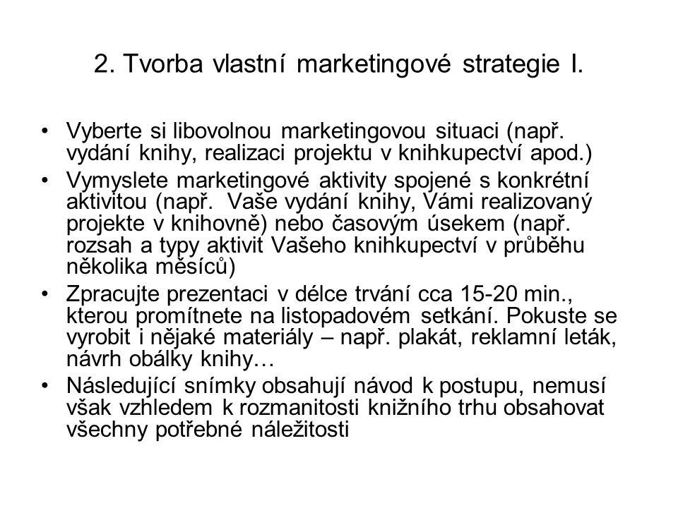 2. Tvorba vlastní marketingové strategie I. Vyberte si libovolnou marketingovou situaci (např.