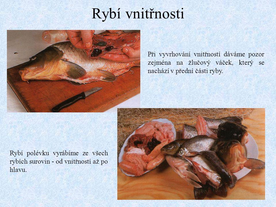 Rybí vnitřnosti Při vyvrhování vnitřností dáváme pozor zejména na žlučový váček, který se nachází v přední části ryby. Rybí polévku vyrábíme ze všech