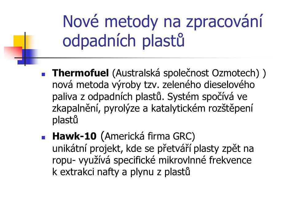 Nové metody na zpracování odpadních plastů Thermofuel (Australská společnost Ozmotech) ) nová metoda výroby tzv. zeleného dieselového paliva z odpadní