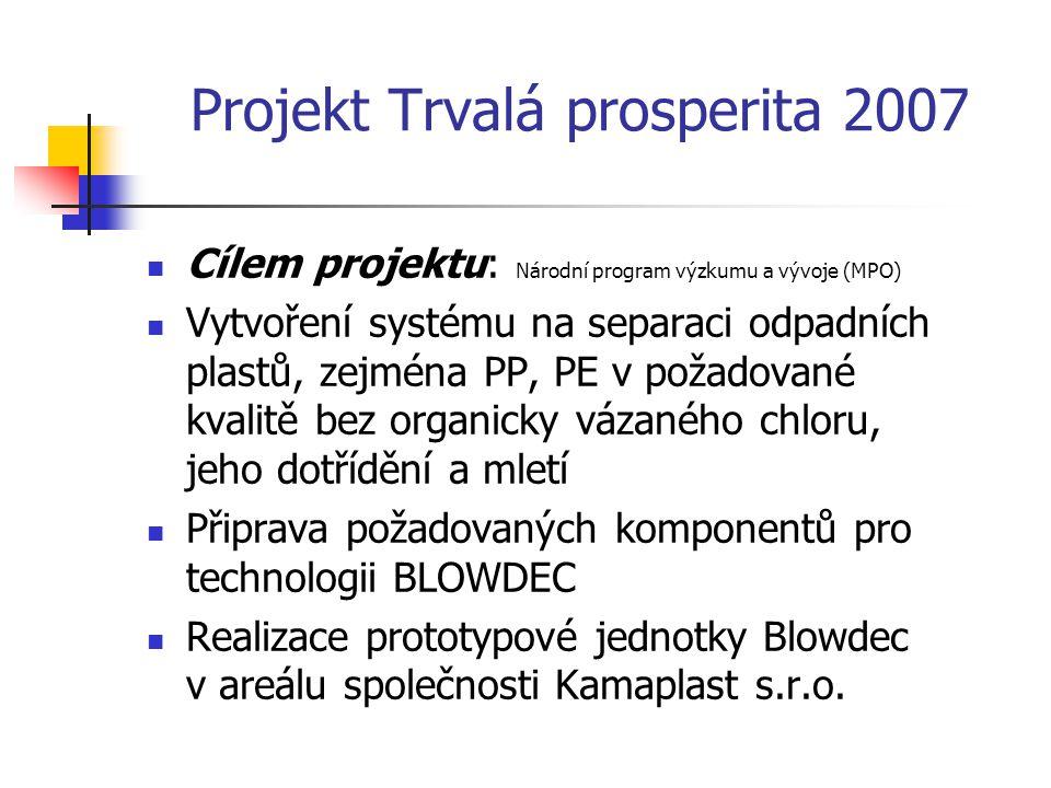 Projekt Trvalá prosperita 2007 Cílem projektu: Národní program výzkumu a vývoje (MPO) Vytvoření systému na separaci odpadních plastů, zejména PP, PE v