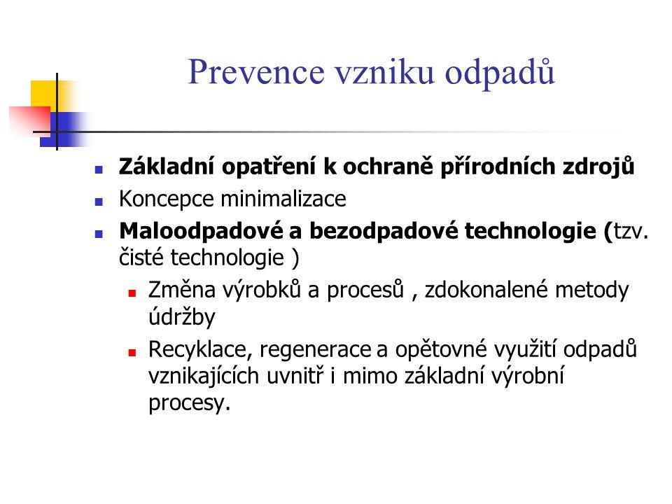 Prevence vzniku odpadů Základní opatření k ochraně přírodních zdrojů Koncepce minimalizace Maloodpadové a bezodpadové technologie (tzv. čisté technolo