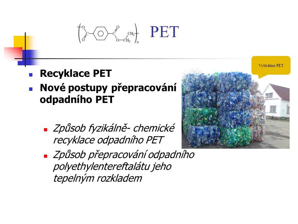 PET Recyklace PET Nové postupy přepracování odpadního PET Způsob fyzikálně- chemické recyklace odpadního PET Způsob přepracování odpadního polyethylen