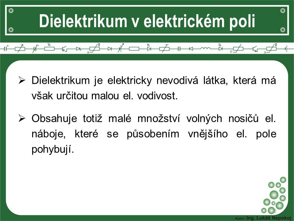 Dielektrikum v elektrickém poli 4  Při vložení dielektrika do elektrického pole dojde k posunu elektrických nábojů a z atomu se stane elektrický dipól.