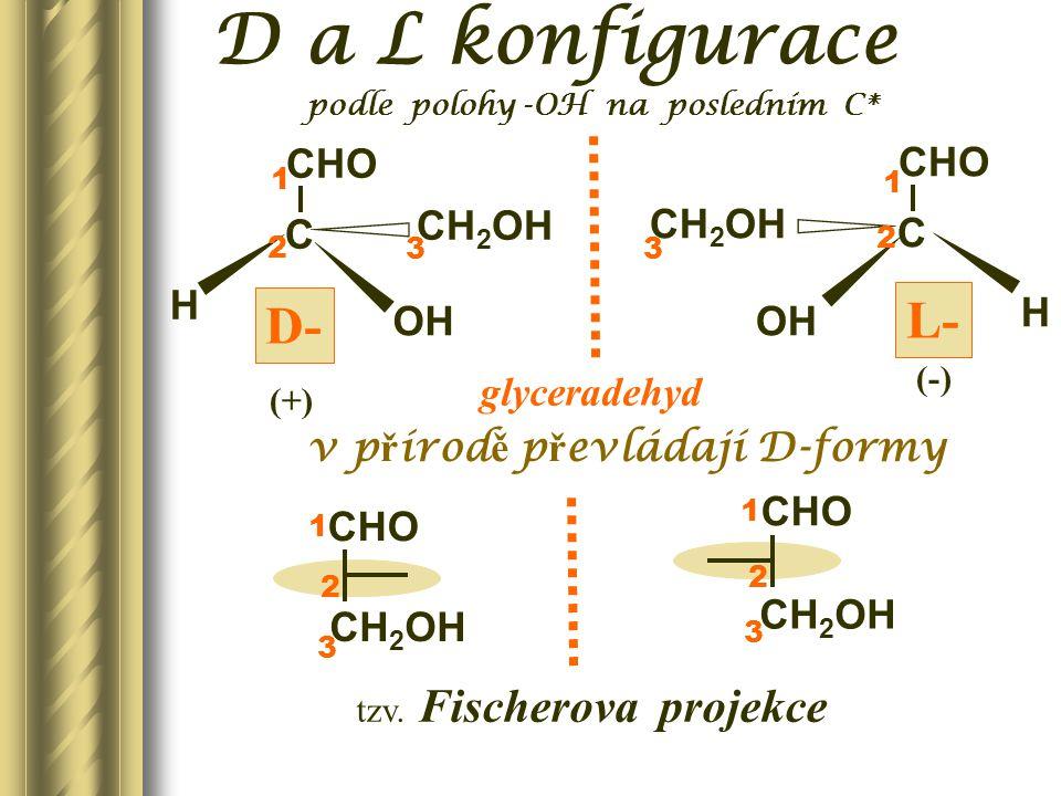 CHO CH 2 OH L-glukosa D-ribosa CHO CH 2 OH L-ribosa D-fruktosa O CH 2 OH L-fruktosa CH 2 OH O D-glukosa CHO CH 2 OH optické antipody = enantiomery Racemická směs je opticky neaktivní.