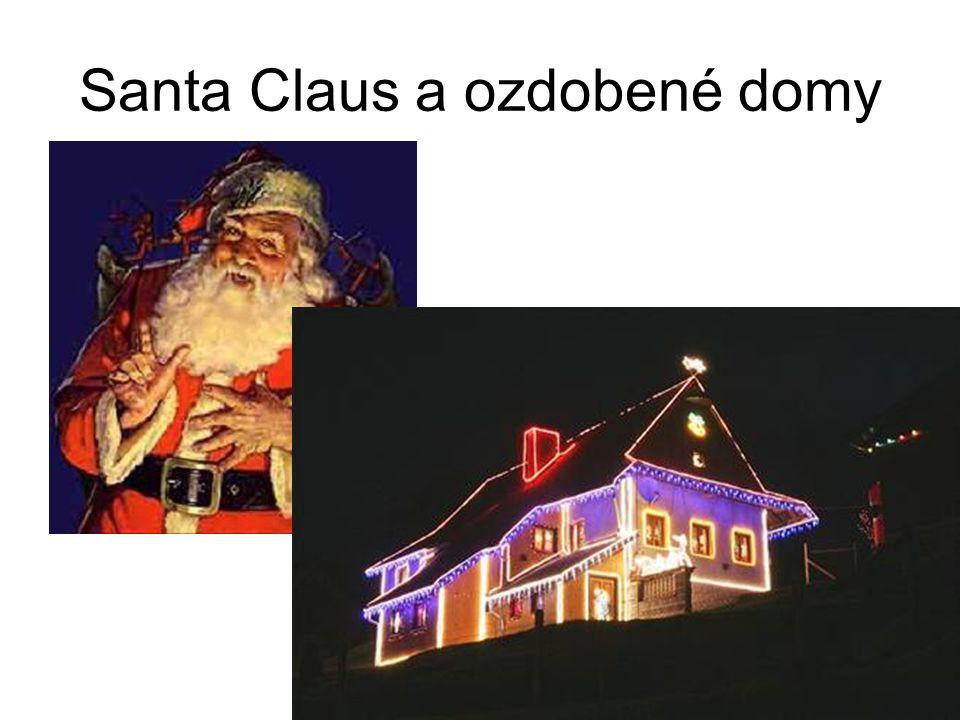 Santa Claus a ozdobené domy