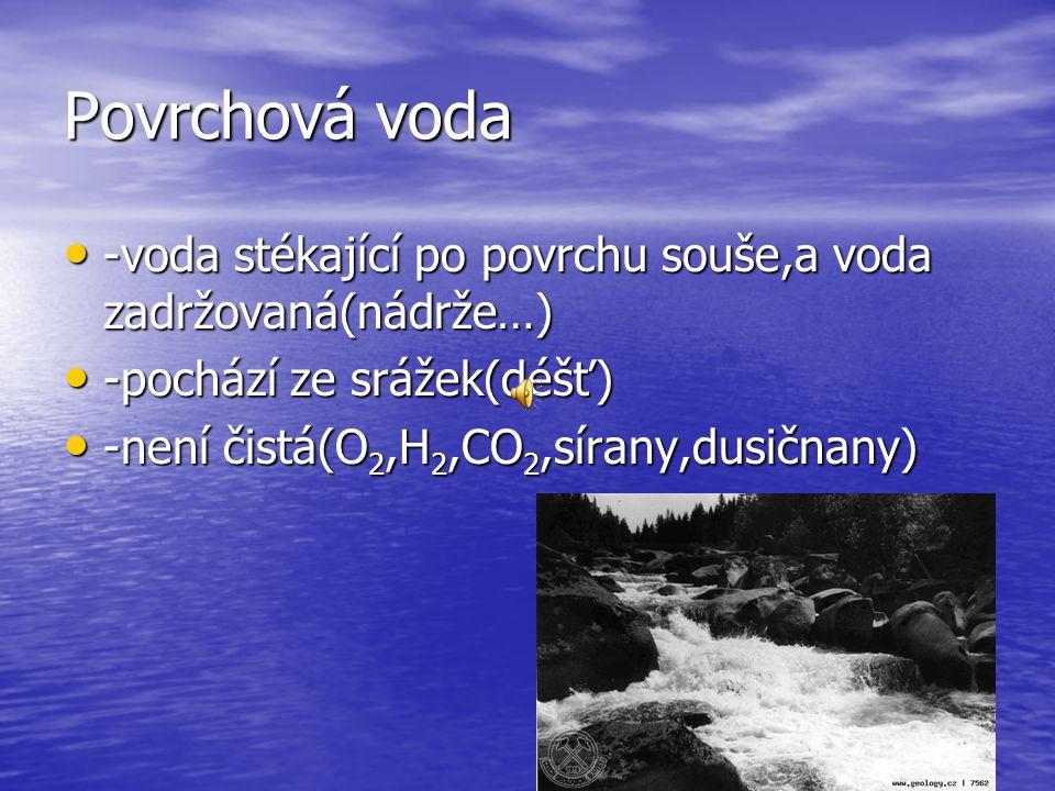 Povrchová voda -voda stékající po povrchu souše,a voda zadržovaná(nádrže…) -voda stékající po povrchu souše,a voda zadržovaná(nádrže…) -pochází ze srážek(déšť) -pochází ze srážek(déšť) -není čistá(O 2,H 2,CO 2,sírany,dusičnany) -není čistá(O 2,H 2,CO 2,sírany,dusičnany)