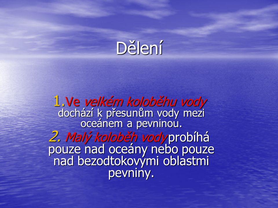 Dělení 1.Ve velkém koloběhu vody dochází k přesunům vody mezi oceánem a pevninou.