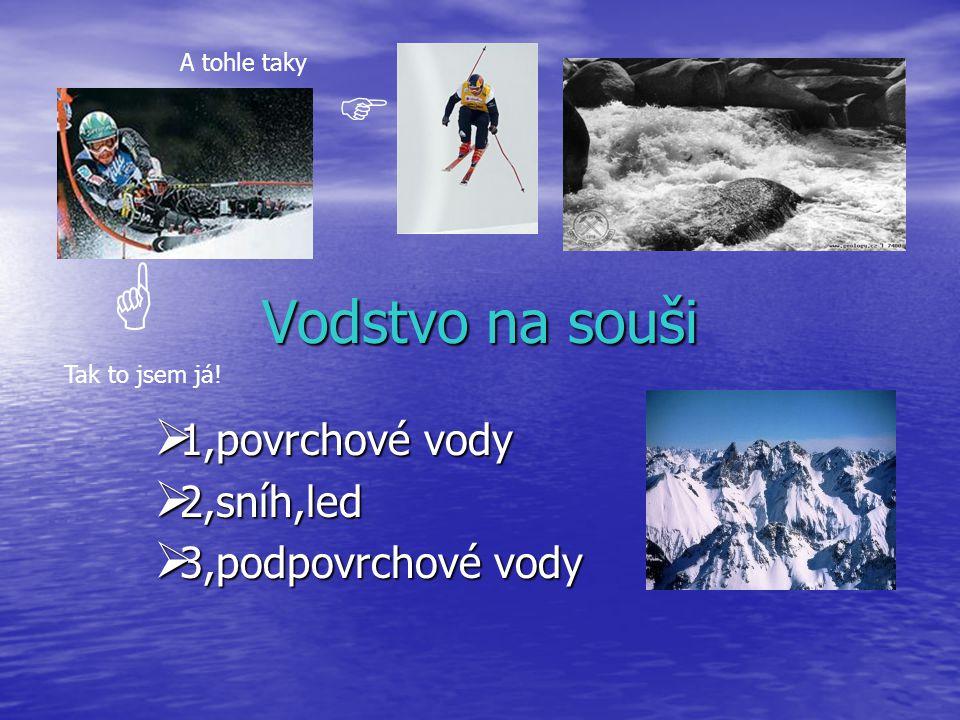 Vodstvo na souši  1,povrchové vody  2,sníh,led  3,podpovrchové vody  Tak to jsem já.