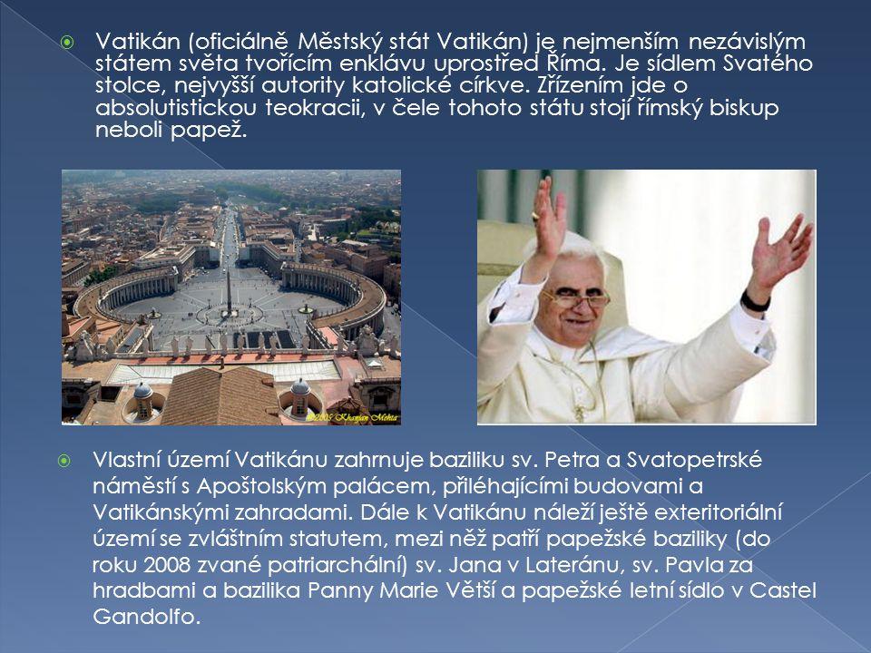  Vlastní území Vatikánu zahrnuje baziliku sv. Petra a Svatopetrské náměstí s Apoštolským palácem, přiléhajícími budovami a Vatikánskými zahradami. Dá