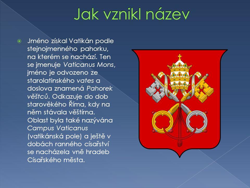  Jméno získal Vatikán podle stejnojmenného pahorku, na kterém se nachází. Ten se jmenuje Vaticanus Mons, jméno je odvozeno ze starolatinského vates a