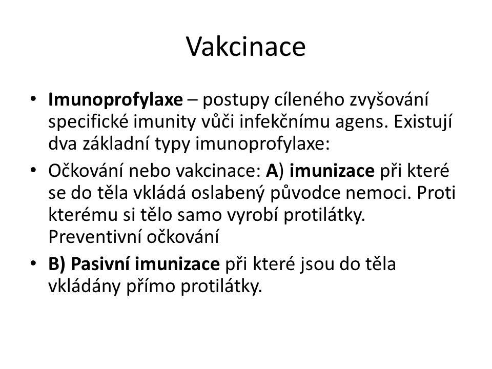 Vakcinace Imunoprofylaxe – postupy cíleného zvyšování specifické imunity vůči infekčnímu agens.