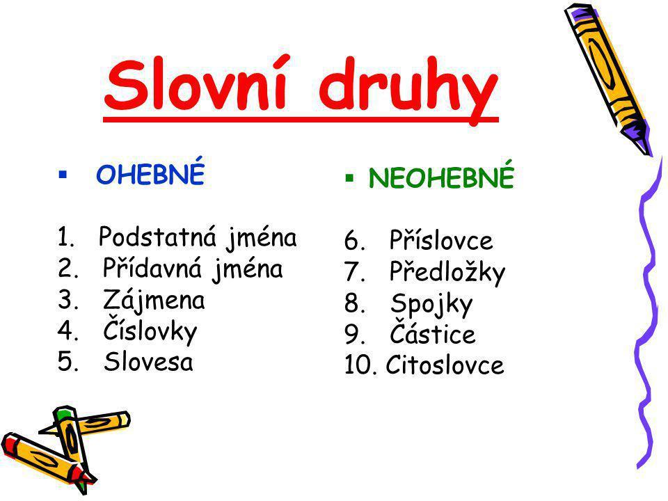 Slovní druhy  OHEBNÉ 1.Podstatná jména 2. Přídavná jména 3.