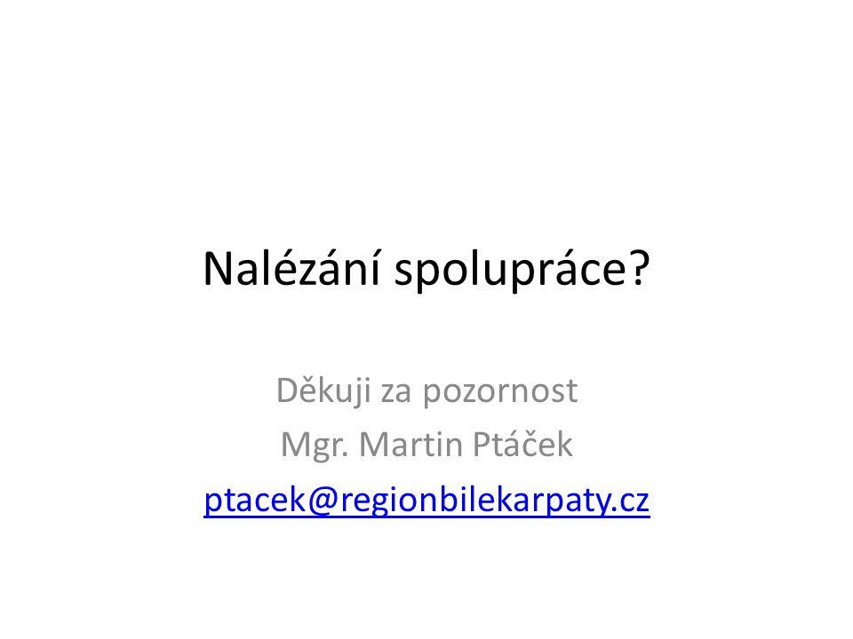 Nalézání spolupráce Děkuji za pozornost Mgr. Martin Ptáček ptacek@regionbilekarpaty.cz