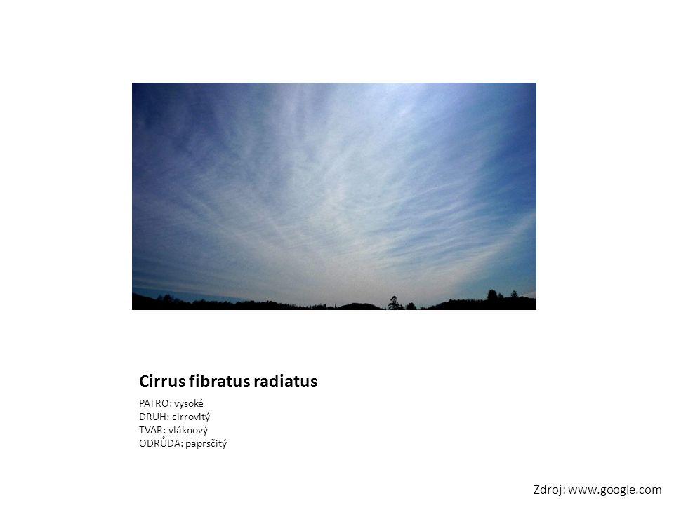 Cirrus fibratus radiatus PATRO: vysoké DRUH: cirrovitý TVAR: vláknový ODRŮDA: paprsčitý Zdroj: www.google.com