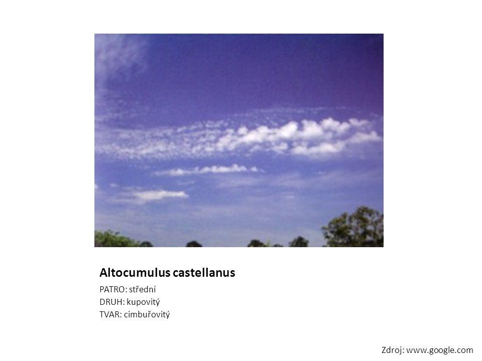 Altocumulus castellanus PATRO: střední DRUH: kupovitý TVAR: cimbuřovitý Zdroj: www.google.com
