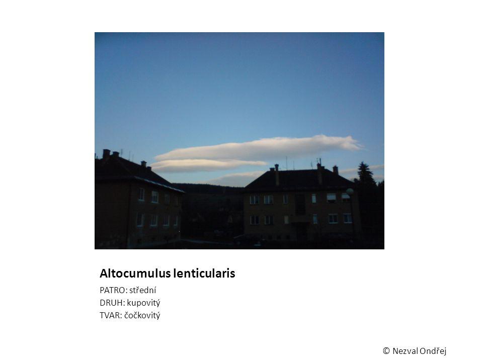 Altocumulus lenticularis PATRO: střední DRUH: kupovitý TVAR: čočkovitý © Nezval Ondřej