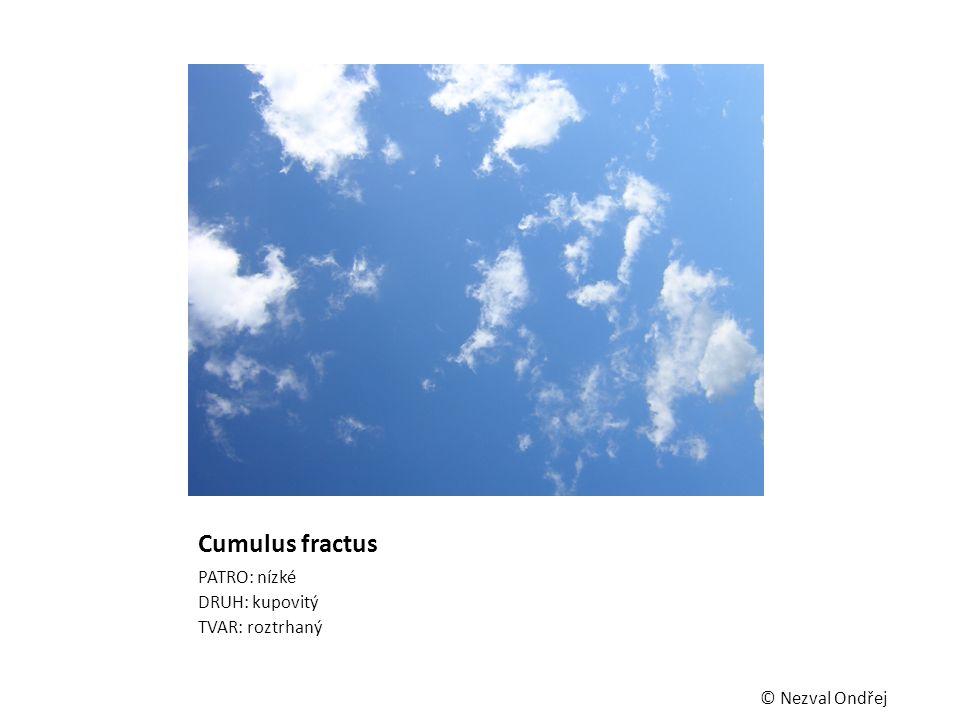Cumulus fractus PATRO: nízké DRUH: kupovitý TVAR: roztrhaný © Nezval Ondřej