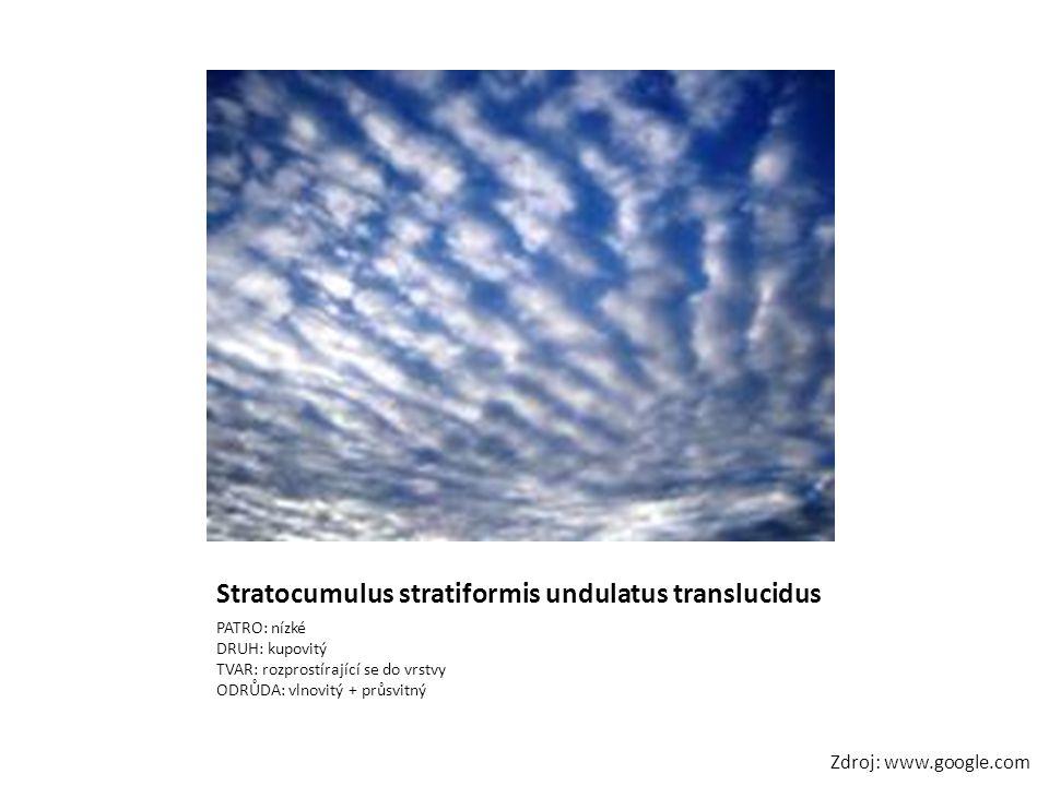 Stratocumulus stratiformis undulatus translucidus PATRO: nízké DRUH: kupovitý TVAR: rozprostírající se do vrstvy ODRŮDA: vlnovitý + průsvitný Zdroj: w