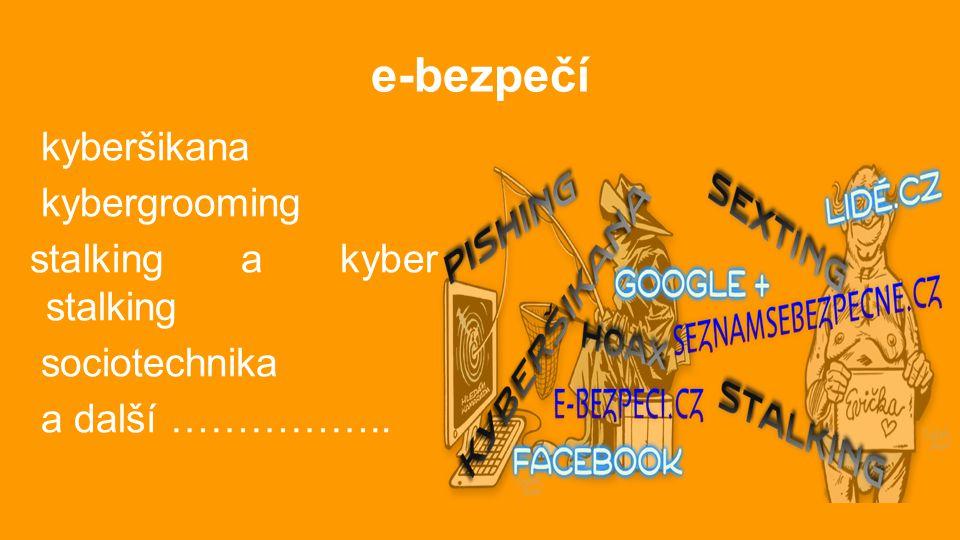 e-bezpečí kyberšikana kybergrooming stalking a kyber stalking sociotechnika a další ……………..