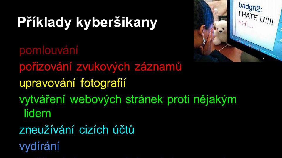 Příklady kyberšikany pomlouvání pořizování zvukových záznamů upravování fotografií vytváření webových stránek proti nějakým lidem zneužívání cizích účtů vydírání obtěžování a sledování voláním a psaní sms