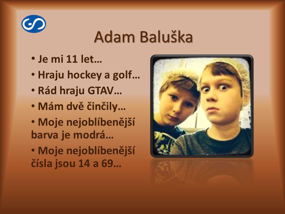 Adam Baluška Je mi 11 let… Hraju hockey a golf… Rád hraju GTAV… Mám dvě činčily… Moje nejoblíbenější barva je modrá… Moje nejoblíbenější čísla jsou 14