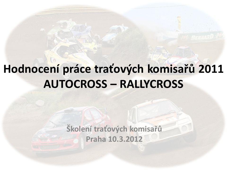 Hodnocení práce traťových komisařů 2011 AUTOCROSS – RALLYCROSS Školení traťových komisařů Praha 10.3.2012