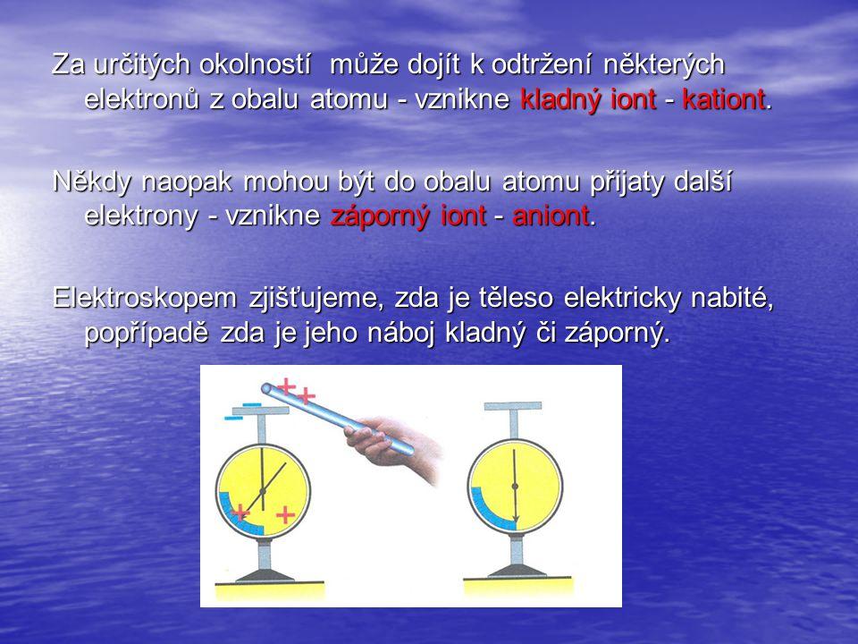 Za určitých okolností může dojít k odtržení některých elektronů z obalu atomu - vznikne kladný iont - kationt. Někdy naopak mohou být do obalu atomu p