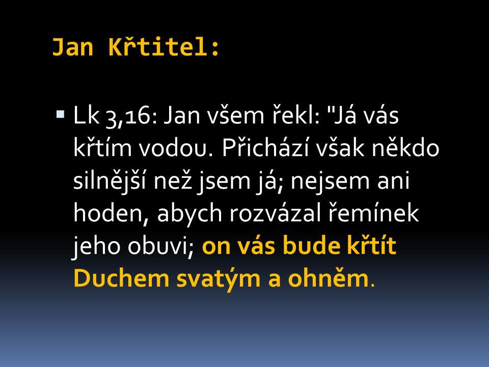 Jan Křtitel:  Lk 3,16: Jan všem řekl: Já vás křtím vodou.