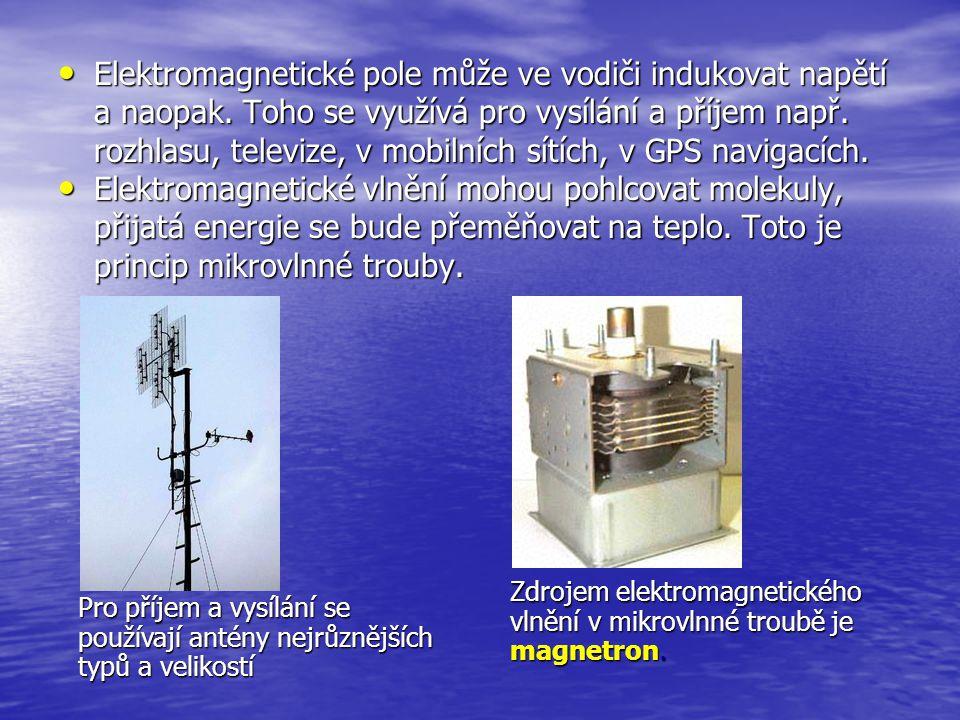 Elektromagnetické pole může ve vodiči indukovat napětí a naopak. Toho se využívá pro vysílání a příjem např. rozhlasu, televize, v mobilních sítích, v