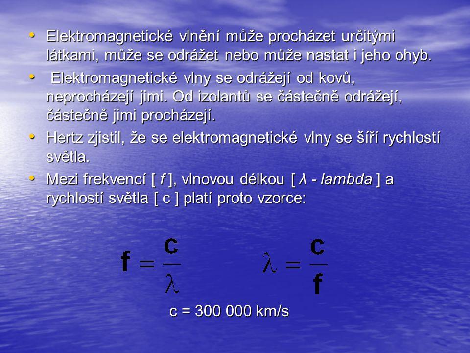 Elektromagnetické vlnění může procházet určitými látkami, může se odrážet nebo může nastat i jeho ohyb. Elektromagnetické vlnění může procházet určitý