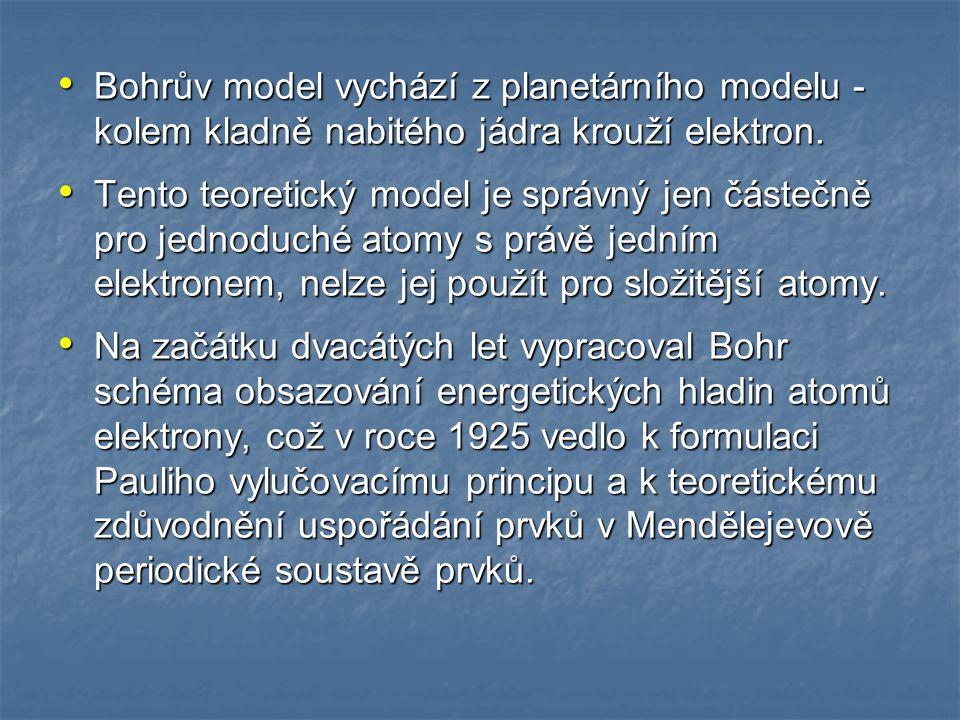 Bohrův model vychází z planetárního modelu - kolem kladně nabitého jádra krouží elektron.