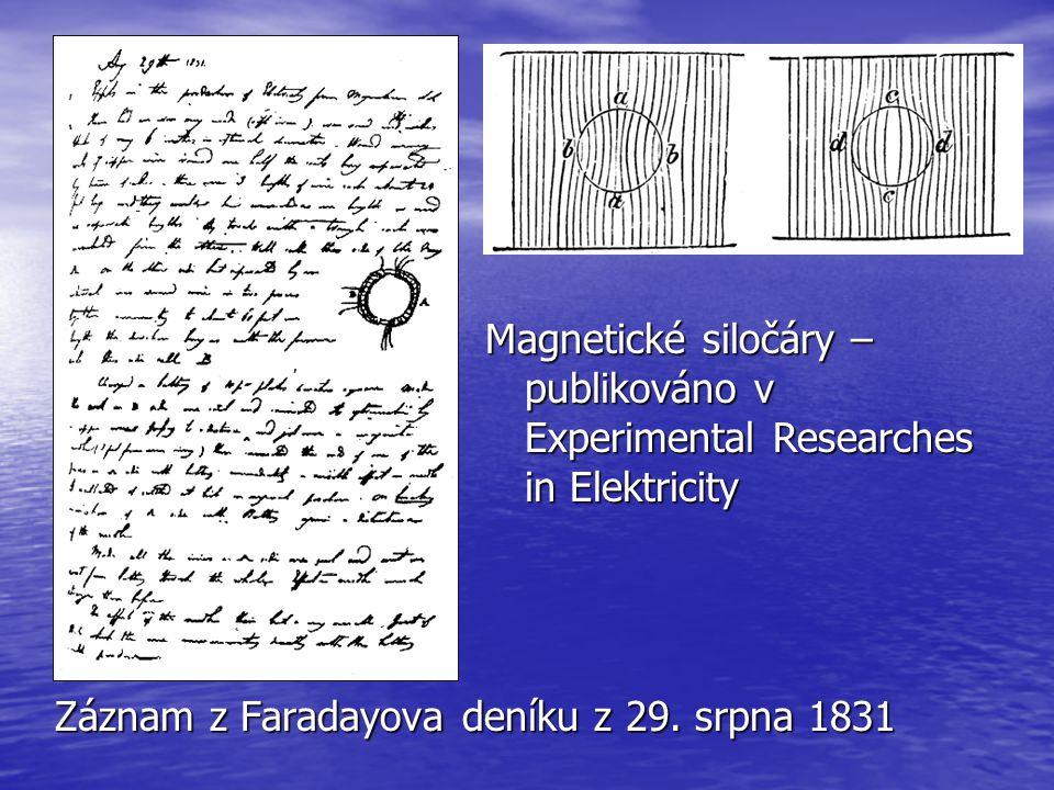 Záznam z Faradayova deníku z 29. srpna 1831 Magnetické siločáry – publikováno v Experimental Researches in Elektricity