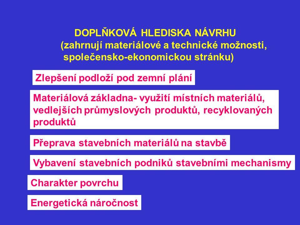 DOPLŇKOVÁ HLEDISKA NÁVRHU (zahrnují materiálové a technické možnosti, společensko-ekonomickou stránku) Zlepšení podloží pod zemní plání Materiálová zá